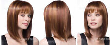 CHSW11 charming short mixed brown straight natural hair wigs for women wig