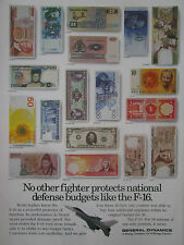 1991 PUB GENERAL DYNAMICS F-16 BILLET BANKNOTE ISRAEL KOREA NORWAY FINLAND AD