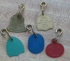 5 vintage dog licence tax tags - Ft Madison Iowa NOS FREE SHIPPING