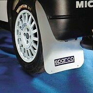 PAIR OF SPARCO RALLY STYLE UNIVERSAL CAR MUD FLAPS IN WHITE (CAN BE CUT TO SIZE)