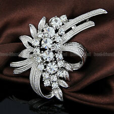Large Flower Rhinestone Crystal Diamante Silver Brooch Wedding Bridal Broach New