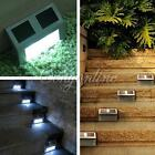 1/2Pcs LED Light Solar Power Steel Pathway Path Step Stairs Wall Garden Lamp