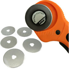 5pcs 45mm Rotary Cutter Blades Cutting Mat Fabric Quilting + 45mm Rotary Cutter