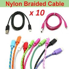 10 LOT BRAIDED Data Sync Cable Charging Cord For iPhone 7 6 6s Plus 5 5S 5C SE