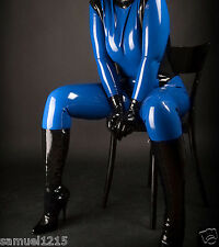 latex Rubber Full-body Gloves Catsuit Navy blue and Black Suit Size XS-XXL