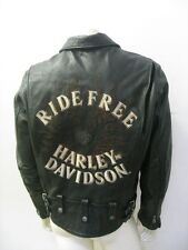 "Harley Davidson Men's ""Flame II"" RIDE FREE Black Leather Jacket Size MEDIUM"
