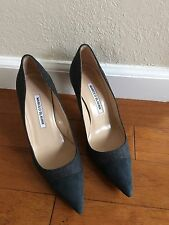 NEW Manolo Blahnik BB Grey Flannel Pumps with Grey Suede Cap Toe 37 7