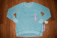 NWT Womens Green Tea Teal Pullover Long Sleeve Sweat Shirt Size L Large