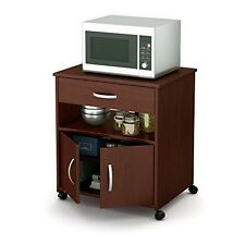South Shore Axess Microwave Cart on Wheels, Royal Cherry