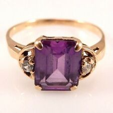 14k Yellow Gold Ring Size 6.75 Amethyst and Diamonds   sku 6.4.22.20