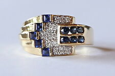 rare LEVIAN 18k yellow Art Deco gold ring w/ diamonds & sapphires vtg size 9.5