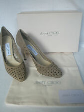 New JIMMY CHOO Ladies VIKKI Mid Brown Latte Suede Court Shoes Heels UK 4 EU 37
