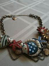 Betsey Johnson Vintage Mermaid's Tale Striped Fish Sea Urchin Clam Necklace RARE