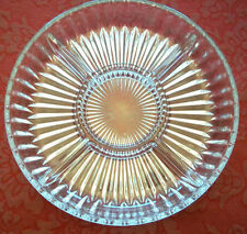"Crystal Clear LINEAR 10"" Sectional Server Plate Bowl Candy Nuts Dessert EUCIB"