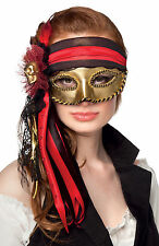 VENETIAN MASQUERADE BALL MASK GOLD PIRATE LADIES DELUXE VENICE EYEMASK NEW