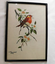 "Xmas Robin Redbreast framed embroidery picture 14""x10"" garden bird vintage 1970s"