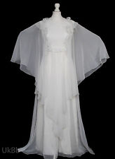 Vintage 1970s Wedding Dress Boho Angel Sleeve Lace Mexican 10 R540