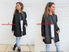 ZARA NEW BLACK WOOL CAPE OVERSIZED JACKET COAT KNIT SLEEVES AND COLLAR SIZE L