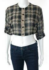 Gianni Versace Silk Black Beige Plaid Sleeve Sheer Crop Top Blouse Italian 42