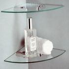 2 Tier Glass Corner Shelves Ideal Bathroom etc Shelf