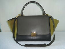 Celine Tri-color Leather TRAPEZE Shoulder bag/w long shoulder strap very good
