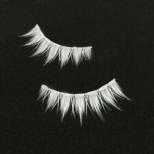 White Eyelashes Natural Long Cross Strip False Eye Lashes Cosplay Lolita Makeup