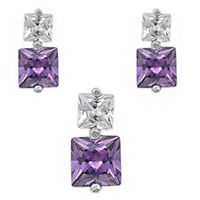 SQUARE AMETHYST & CZ .925 Sterling Silver Earring & Pendant Gift Set