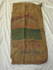 VINTAGE NORMAN RIDGE FARMS SEED POTATOES SARANAC LAKE NY BURLAP SACK BAG