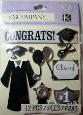 NEW 12 pc GRADUATION DAY Congrats Grad Diploma Class Of Cap  K & CO 3D Sticker
