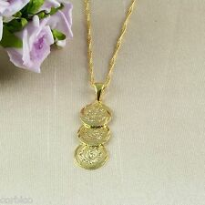 N1 18K Gold Filled Three Coins Money Necklace & Pendant - Gift boxed