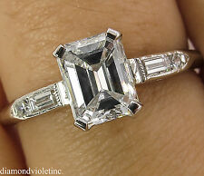 GIA 1.15CT ANTIQUE VINTAGE DECO EMERALD CUT DIAMOND ENGAGEMENT WEDDING RING PLAT