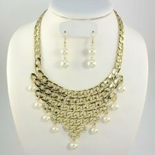 Unusual Statement Gold Chunky Pearl Choker Necklace & Earrings By Rocks Boutique