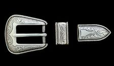"Western Cowboy Buckle Set Silver Rope Border For 3/4"" Leather Belts"