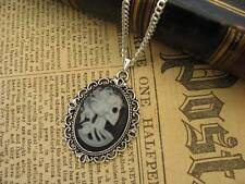 Vintage Gothic Steampunk Skull Skeleton Lady  Cameo Pendant Silver Necklace Grey