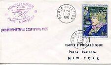ENVELOPPE PREMIERE LIAISON PARIS NEW YORK 1965 REPORTE / PARIS AVIATION