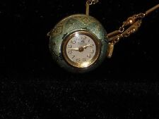 Bucherer Ball Necklace Watch Working Art Deco Green Enamel With Chain