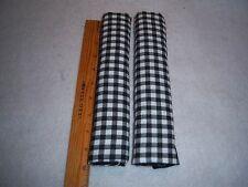 """2 Refrigerator handle covers 9.75"""" BLACK White Check Gingham Primitive"""