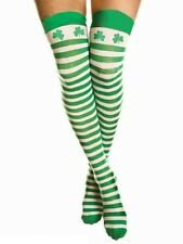 Over The Knee Green And White St Patricks Day Shamrock Leprechaun Socks Striped