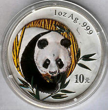 China 10 Yens 2003 BEAR PANDA  @ 1 oz silver pure @ Relief obverse enamelled @