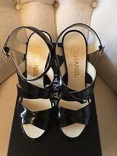 New Black Paten Cal Korea Blossom Sandals Size 36.5EU or 6.5 US $950+
