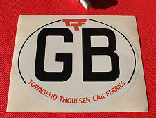 GB Nationality ID Plate Sticker Townsend Thoresen car ferries
