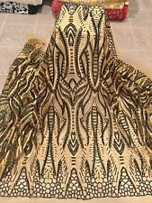 """GOLD MESH W/GOLD EMBROIDERY BLACK SEQUIN LACE FABRIC 52"""" WIDE 1.5  YARD"""