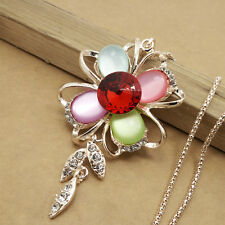 Gold-plated Mosaic crystal FLOWER chain Fashion charm long necklace HH495