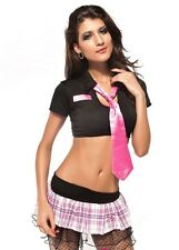 Women's Sexy Black & Pink School Girl Retro Style Fancy Dress Costume