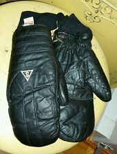 VINTAGE SARANAC LEATHER SNOWMOBILE SKI MITTENS GLOVES BLACK LADIES M WINTER USA