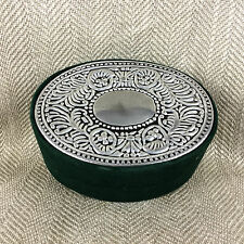 Antique Style Jewelry Luxury Gift Box Decorative Silver Plated Green Velvet