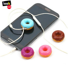 New MP3 Headset Headphone Sweet Doughnuts Style Earphone Cable Cord Winder