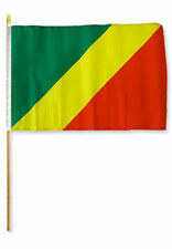 "12x18 12""x18""  Congo Republic Stick Flag wood 30 inch staff"