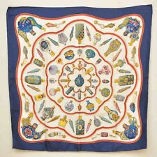 "Authentic  HERMES Scarf ""Qu Importe le Flacon..."" 100% Silk Blue 90cm #S4805 E"