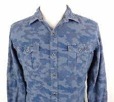 Rock Republic Large Shirt Button Up Camo Blue Light Dark Camouflage Long Sleeve